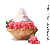 tart cake with strawberry and... | Shutterstock .eps vector #443367337