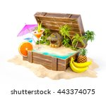 tropical bar with cocktails and ... | Shutterstock . vector #443374075