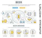 flat line illustration of beer... | Shutterstock .eps vector #443375671