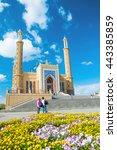 flowers and mosque in oskemen ... | Shutterstock . vector #443385859