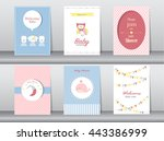 set of baby shower invitation... | Shutterstock .eps vector #443386999