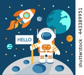 astronaut on the moon in flat... | Shutterstock .eps vector #443389951