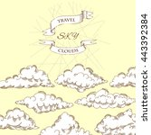 background with clouds sketches.... | Shutterstock . vector #443392384