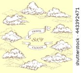 background with clouds sketches.... | Shutterstock . vector #443392471