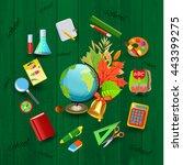 back to school sign with school ... | Shutterstock .eps vector #443399275