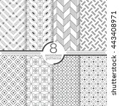 set of eight seamless patterns. ... | Shutterstock .eps vector #443408971