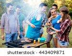 friends having fun in nature... | Shutterstock . vector #443409871