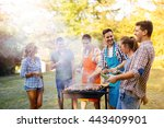 friends having a barbecue party ... | Shutterstock . vector #443409901