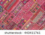indian patchwork carpet in... | Shutterstock . vector #443411761