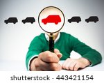 magnifier with red car icon...   Shutterstock . vector #443421154