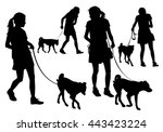 Stock vector girl walking with a dog on a leash silhouette on a white background 443423224