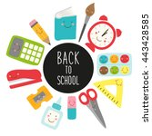 cute childish back to school... | Shutterstock . vector #443428585