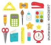 cute childish back to school... | Shutterstock .eps vector #443428597