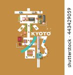 japan kyoto   top view map... | Shutterstock .eps vector #443429059