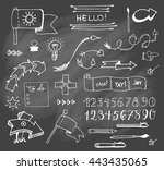 vector hand drawn set on grey... | Shutterstock .eps vector #443435065