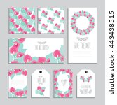 elegant cards and gift tags... | Shutterstock .eps vector #443438515