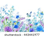 Stock photo background of flowers watercolor illustration wildflowers and butterflies design for fabric cards 443441977