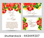 invitation with floral... | Shutterstock .eps vector #443449207