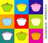 saucepan simple icon. pop art...