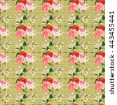 seamless floral pattern three... | Shutterstock .eps vector #443455441