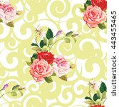 seamless floral pattern three... | Shutterstock .eps vector #443455465