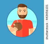 hipster man with a coconut... | Shutterstock .eps vector #443456101