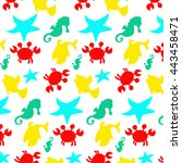seamless sea pattern  crab ... | Shutterstock . vector #443458471