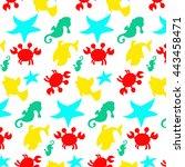 seamless sea pattern  crab ... | Shutterstock . vector #443458471
