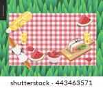picnic plaid and snack on green ... | Shutterstock .eps vector #443463571