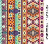 folk flower vector border | Shutterstock .eps vector #443466259