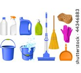domestic tools for cleaning on... | Shutterstock .eps vector #44346883