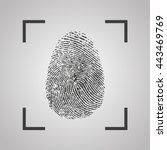 fingerprint icon on a gray... | Shutterstock .eps vector #443469769