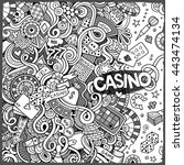 Cartoon hand-drawn doodles casino, gambling illustration. Line art detailed, with lots of objects vector design background - stock vector