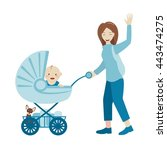 mother with a pram. woman... | Shutterstock .eps vector #443474275