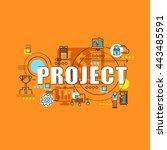 flat line design start for... | Shutterstock .eps vector #443485591