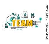 flat line design start for... | Shutterstock .eps vector #443485609