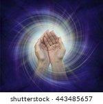 divine helper   cupped hands... | Shutterstock . vector #443485657