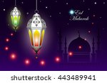 vector background of the muslim ... | Shutterstock .eps vector #443489941