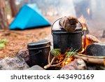 Cauldrons Over Burning Campfir...