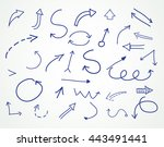 hand drawn arrows.sketchy... | Shutterstock .eps vector #443491441