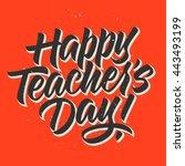 teacher's day calligraphy ... | Shutterstock .eps vector #443493199