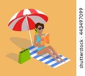 summer vacation. vector flat...   Shutterstock .eps vector #443497099