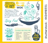 sketchbook with wok asian spicy ... | Shutterstock .eps vector #443498551