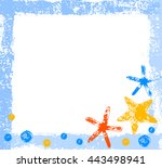 colorful starfishes grunge... | Shutterstock .eps vector #443498941