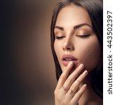 perfect woman face portrait... | Shutterstock . vector #443502397