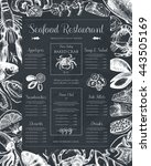 decorative seafood restaurant... | Shutterstock .eps vector #443505169