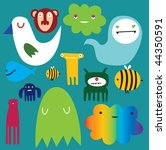 colored monsters | Shutterstock .eps vector #44350591