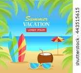 summer vacation concept banner. ... | Shutterstock .eps vector #443515615