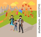 family holiday in the amusement ... | Shutterstock .eps vector #443515741