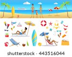 big set summer vacation items... | Shutterstock .eps vector #443516044